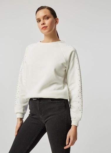 Monamoda Taşlı Sweatshirt Ekru